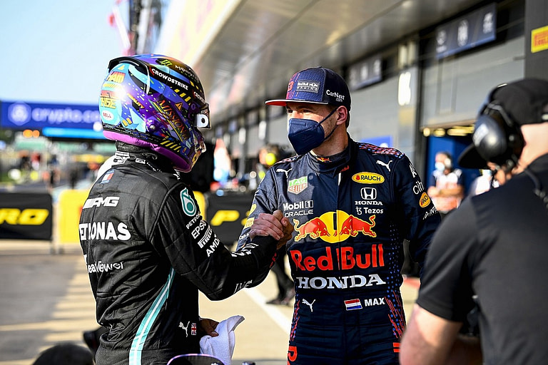 Lewis Hamilton and Max Verstappen by motorsport